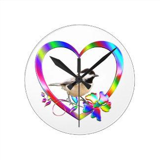 Chickadee in Colorful Heart Round Clock