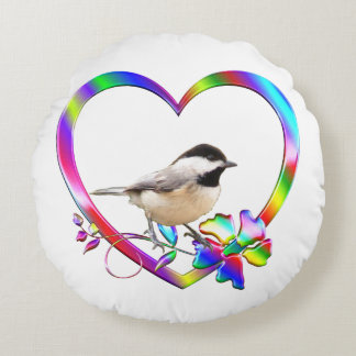 Chickadee in Colorful Heart Round Pillow