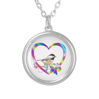 Chickadee in Colorful Heart Silver Plated Necklace