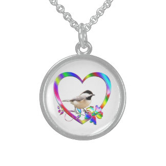 Chickadee in Colorful Heart Sterling Silver Necklace