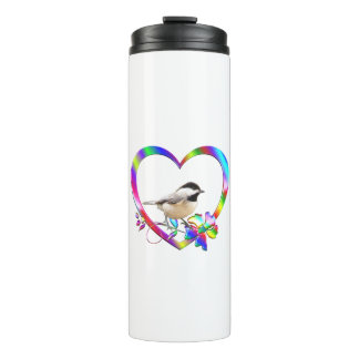 Chickadee in Colorful Heart Thermal Tumbler