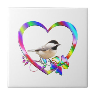 Chickadee in Colorful Heart Tile