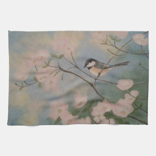 Chickadee in Spring Dogwood Kitchen Towel