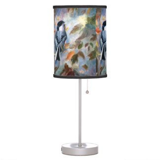 Chickadee In the Fall Table Lamp