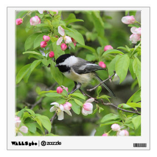 Chickadee in the spring wall sticker