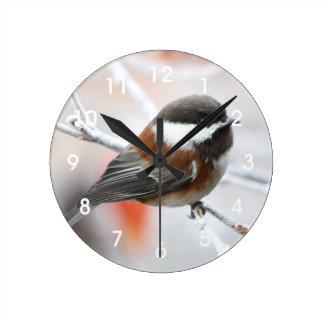 Chickadee in Winter Round Clock