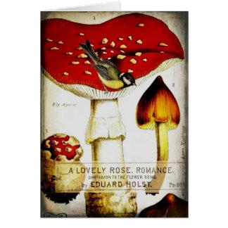 Chickadee Mushroom Greeting Card