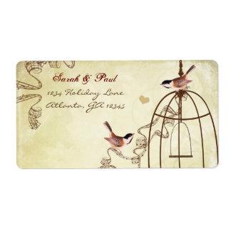 Chickadee Musical Bird Cage Swirl Return Address