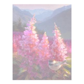 Chickadee on Alaskan Wildflowers With Mountains Letterhead Template