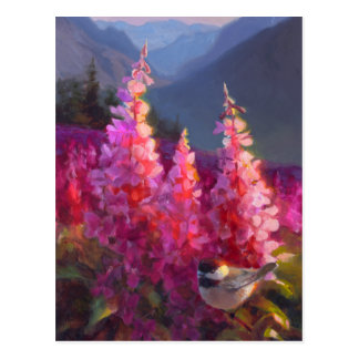 Chickadee on Alaskan Wildflowers With Mountains Postcard