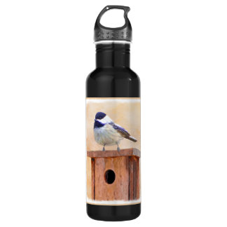 Chickadee on Birdhouse 710 Ml Water Bottle