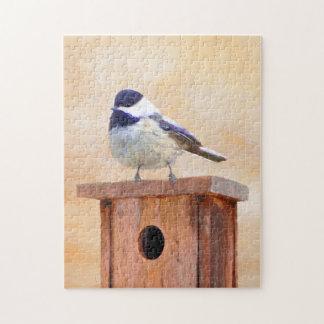 Chickadee on Birdhouse Jigsaw Puzzle