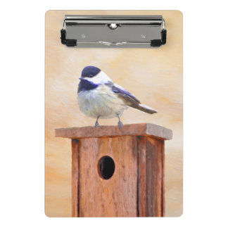 Chickadee on Birdhouse Painting - Original Bird Ar Mini Clipboard