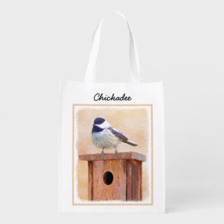 Chickadee on Birdhouse Painting - Original Bird Ar Reusable Grocery Bag