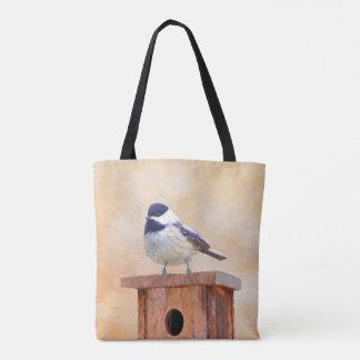 Chickadee on Birdhouse Painting - Original Bird Ar Tote Bag