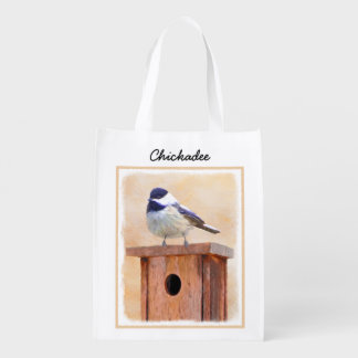 Chickadee on Birdhouse Reusable Grocery Bag