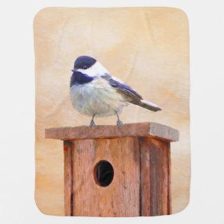 Chickadee on Birdhouse Swaddle Blanket
