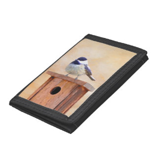 Chickadee on Birdhouse Tri-fold Wallet