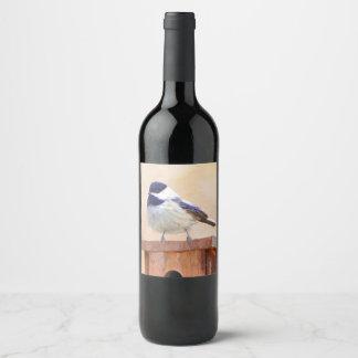 Chickadee on Birdhouse Wine Label