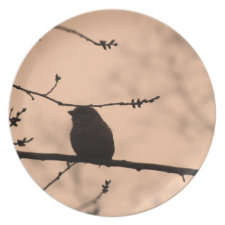 Chickadee on Branch in Twilight Silhouette Dinner Plates