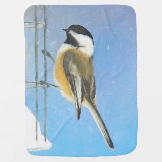 Chickadee on Feeder Painting - Original Bird Art Baby Blanket