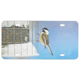 Chickadee on Feeder Painting - Original Bird Art License Plate