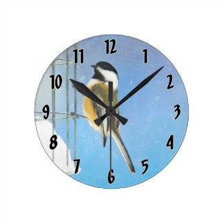 Chickadee on Feeder Painting - Original Bird Art Round Clock