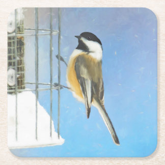 Chickadee on Feeder Painting - Original Bird Art Square Paper Coaster