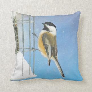 Chickadee on Feeder Painting - Original Bird Art Throw Pillow
