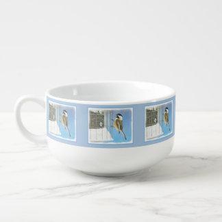 Chickadee on Feeder Soup Mug
