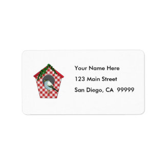 Chickadee on Red Gingham Ivy Covered House Label