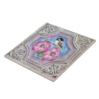 Chickadee & Petunias Ceramic Tile Coaster Trivet