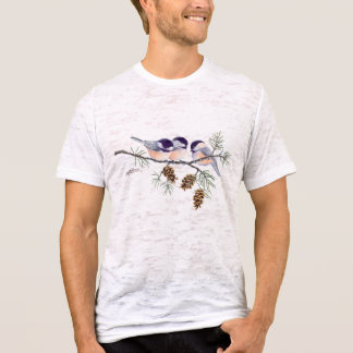 CHICKADEE & PINE CONES by SHARON SHARPE T-Shirt