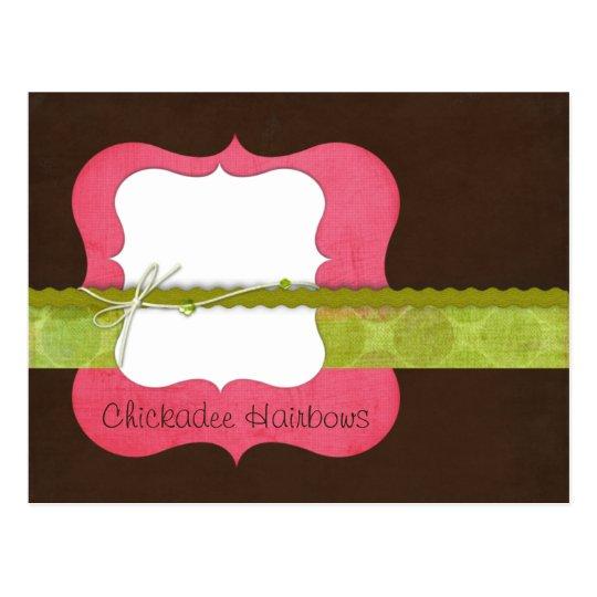 Chickadee {pink} Hairbow Postcard