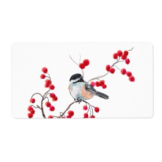 CHICKADEE & RED BERRIES by SHARON SHARPE Shipping Label