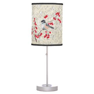 CHICKADEE & RED BERRIES & LACE by SHARON SHARPE Table Lamp