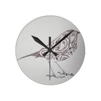 Chickadee Round Clock