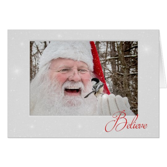 Chickadee & Santa Christmas Note Card