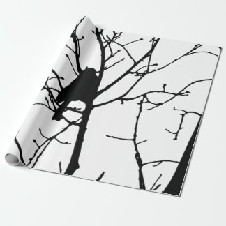 Chickadee Silhouette Love Bird Watching Wrapping Paper