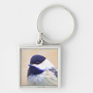 Chickadee Silver-Colored Square Keychain