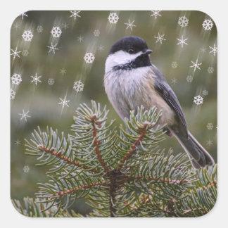 Chickadee Snow Flakes Pine Tree Winter Square Sticker