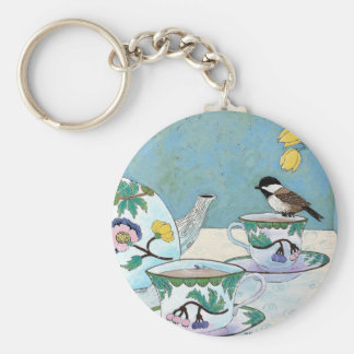 Chickadee to Tea Keychain