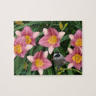 Chickadee with Flowers - Jigsaw Puzzle