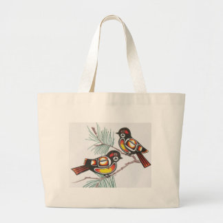 chickadees 1 large tote bag