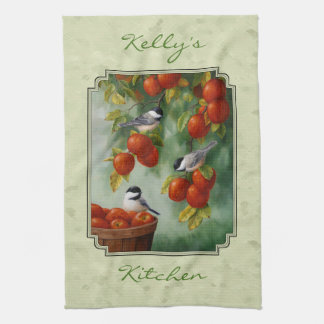 Chickadees and Apple Tree Green Kitchen Towel