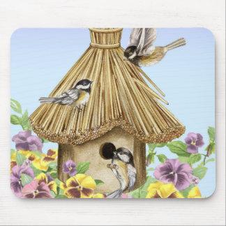 Chickadees Birdhouse Mouse Pad