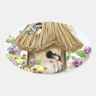 Chickadees Birdhouse Oval Sticker