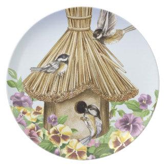 Chickadees Birdhouse Plate