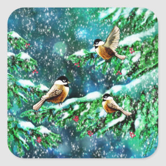 Chickadees Frolicking in the Trees Stickers