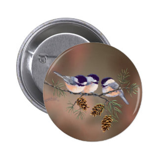 CHICKADEES & PINECONES by SHARON SHARPE 2 Inch Round Button